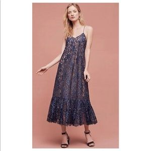 NWT Anthropologie Navy Blue Lace Dress